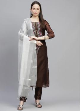 Attractive Chanderi Fancy Brown Designer Straight Salwar Suit