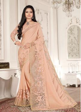 Attractive Resham Peach Fancy Fabric Designer Saree