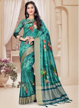 Attractive Sea Green Printed Saree
