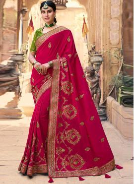 Attractive Silk Embroidered Designer Traditional Saree