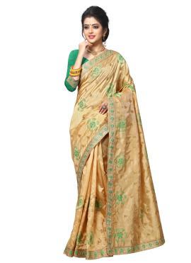 Attractive Thread Silk Beige Classic Designer Saree