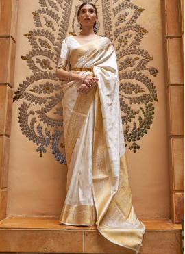 Attractive Weaving Off White Kanjivaram Silk Traditional Saree