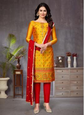 Attractive Yellow Churidar Designer Suit