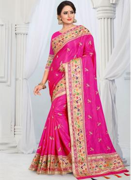 Auspicious Border Silk Hot Pink Designer Saree