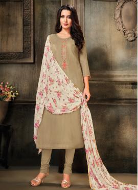 Auspicious Embroidered Cotton Grey Churidar Salwar Suit