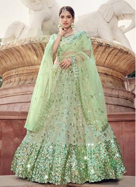 Auspicious Green Engagement Lehenga Choli