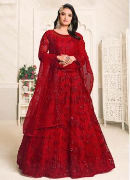 Auspicious Red Resham Designer Floor Length Suit