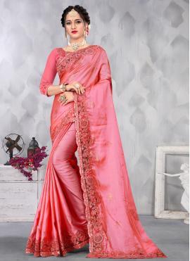 Auspicious Sequins Satin Pink Designer Saree