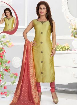 Auspicious Silk Yellow Churidar Salwar Kameez