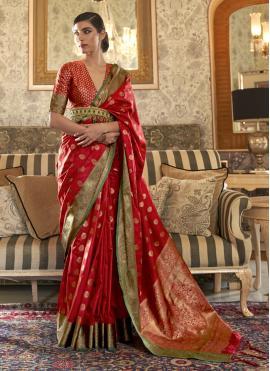 Auspicious Weaving Red Tussar Silk Designer Traditional Saree
