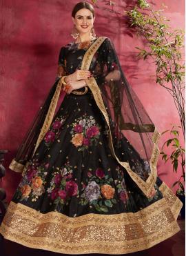 Auspicious Zari Black Banglori Silk Lehenga Choli