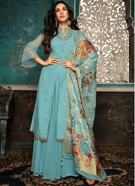 Awesome Aqua Blue Designer Salwar Suit