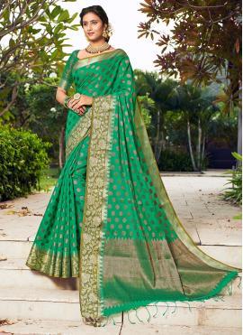 Awesome Banarasi Silk Weaving Green Designer Traditional Saree