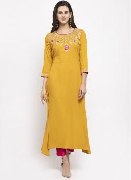 Awesome Rayon Mustard Readymade Suit