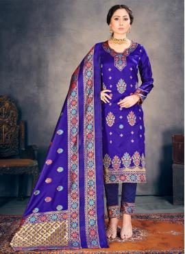 Awesome Weaving Banarasi Silk Pant Style Suit