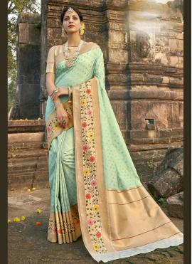 Banarasi Silk Aqua Blue Fancy Designer Traditional Saree
