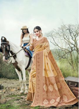 Banarasi Silk Beige Weaving Classic Saree