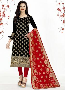 Banarasi Silk Black Churidar Salwar Suit