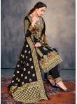 Banarasi Silk Black Weaving Pant Style Suit - 1