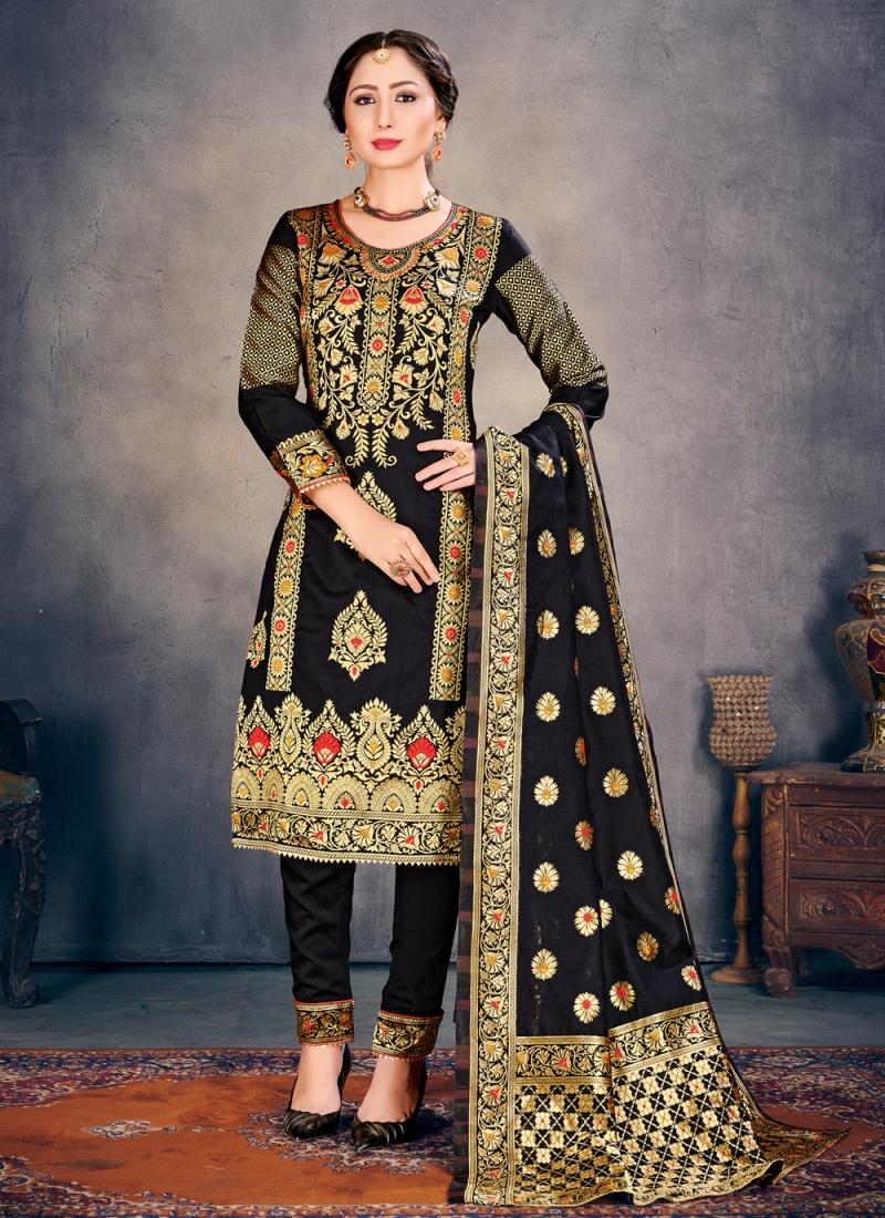 Banarasi Silk Black Weaving Pant Style Suit