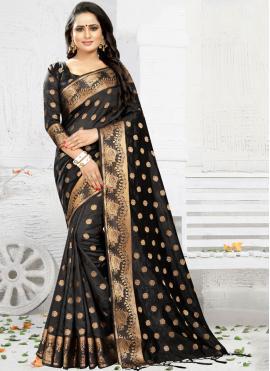 Banarasi Silk Black Weaving Silk Saree