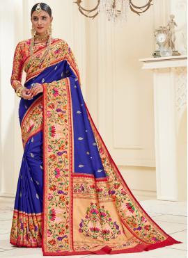 Banarasi Silk Blue Traditional Designer Saree