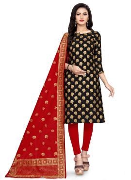 Banarasi Silk Churidar Designer Suit in Black