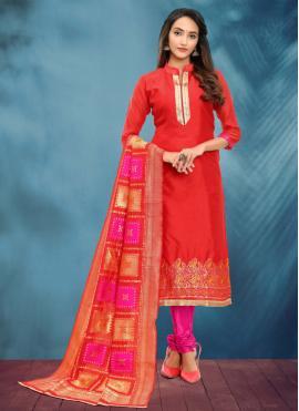 Banarasi Silk Churidar Salwar Kameez in Red