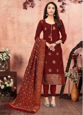 Banarasi Silk Churidar Salwar Suit in Maroon