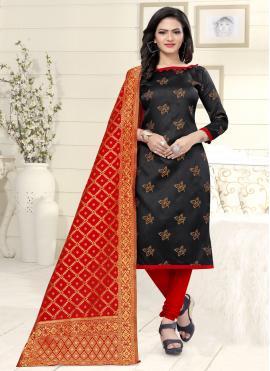 Banarasi Silk Churidar Suit in Black