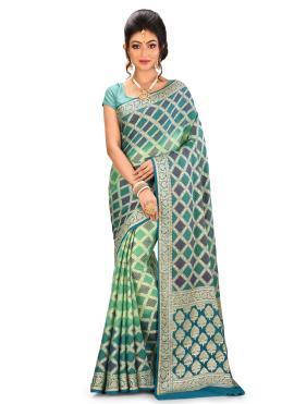 Banarasi Silk Designer Saree in Multi Colour