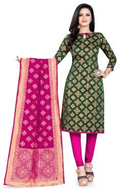 Banarasi Silk Green Churidar Salwar Suit