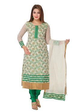 Banarasi Silk Green Trendy Straight Salwar Kameez