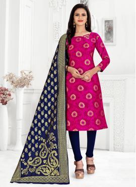 Banarasi Silk Hot Pink Weaving Churidar Suit