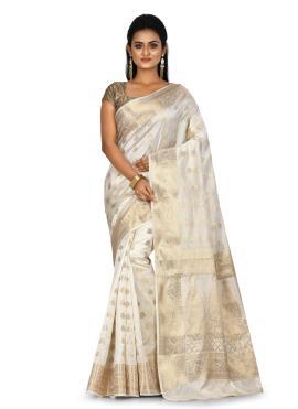 Banarasi Silk Off White Weaving Traditional Saree