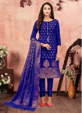 Banarasi Silk Printed Blue Churidar Designer Suit