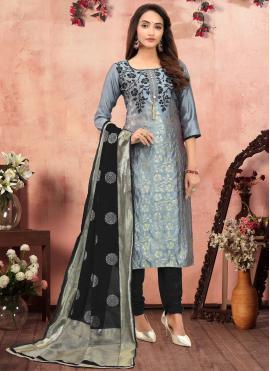 Banarasi Silk Printed Grey Churidar Salwar Suit