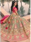 Banarasi Silk Resham Green and Pink Lehenga Choli - 1