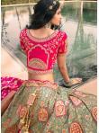 Banarasi Silk Resham Green and Pink Lehenga Choli - 2