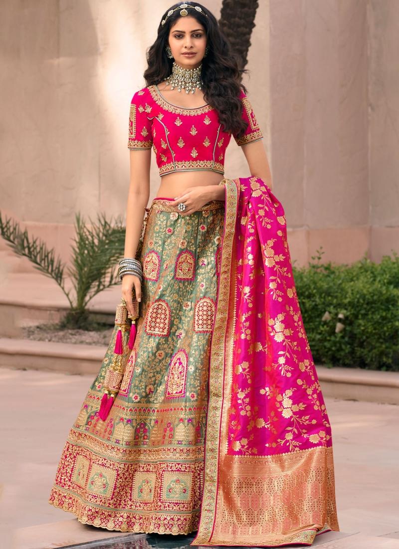 Banarasi Silk Resham Green and Pink Lehenga Choli