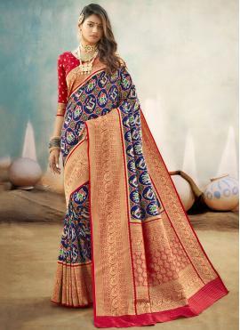 Banarasi Silk Traditional Designer Saree in Blue