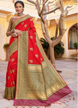 Banarasi Silk Trendy Saree in Orange