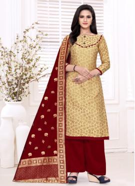 Banarasi Silk Weaving Beige Designer Palazzo Suit