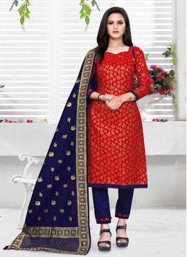 Banarasi Silk Weaving Churidar Designer Suit in Red
