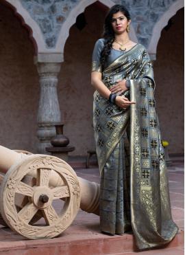 Banarasi Silk Weaving Contemporary Saree in Grey