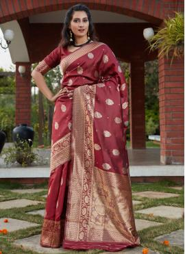 Banarasi Silk Weaving Designer Traditional Saree in Wine