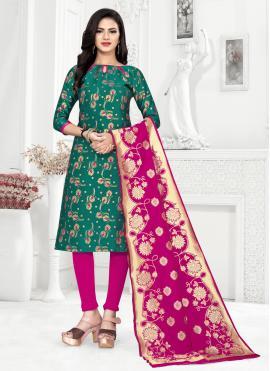 Banarasi Silk Weaving Green Churidar Salwar Suit