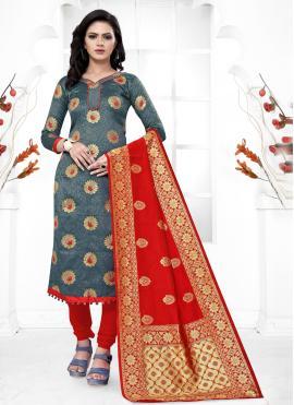 Banarasi Silk Weaving Grey Churidar Salwar Kameez