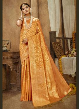 Banarasi Silk Weaving Traditional Designer Saree in Mustard