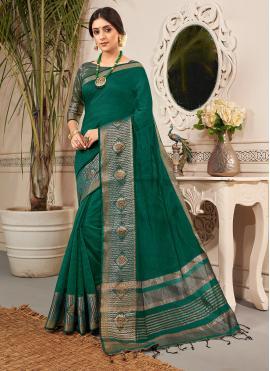 Banarasi Silk Weaving Traditional Saree in Green